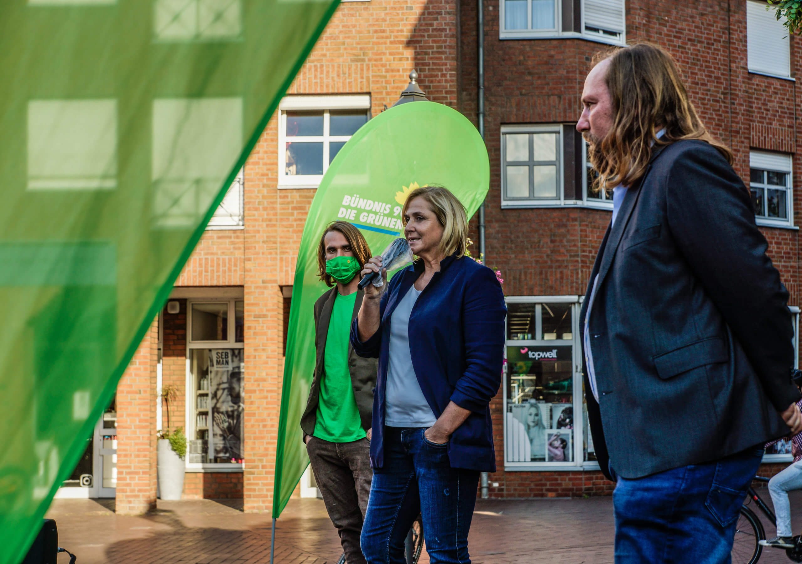 Michaela Eislöffel mit Anton Hofreiter und Niklas Graf