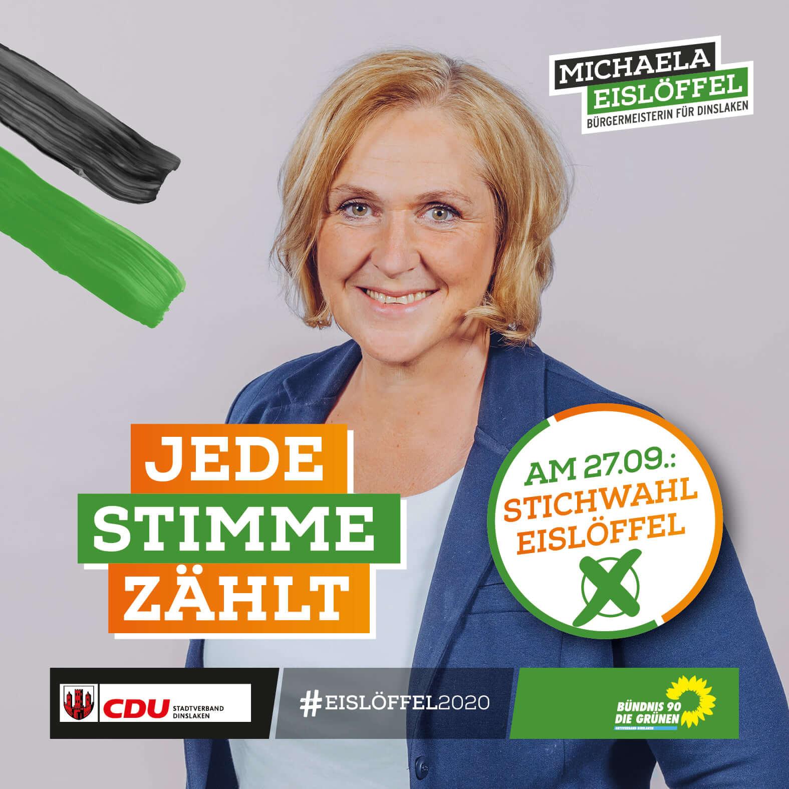 Michaela Eislöffel - Jede Stimme zählt - Am 27 September 2020 ist Stichwahl - Machen Sie Ihr Kreuz bei Eislöffel und sorgen Sie für frischen Wind in Dinslaken